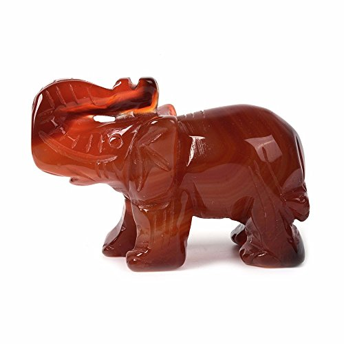 Carved Redish Agate Gemstone Elephant Healing Guardian Statue Figurine Crafts 2 inch