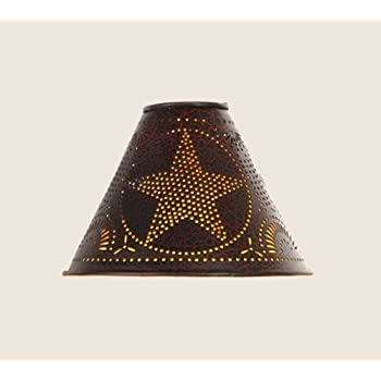 """Tin Punched Star Lamp Shade in Crackle Black, Clips On Light Bulb, 2"""" x 6"""" x 4"""""""