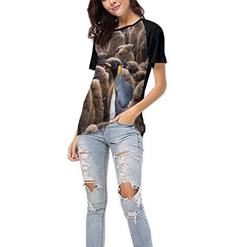 Laki-co Women's Summer Short Sleeve - Snowing Penguins Casual Raglan Tee Baseball Tshirts Tops Blouse XL Black