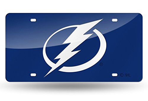 Tampa Bay Lightning BLUE Premium Deluxe Laser Cut Acrylic Inlaid Mirrored License Plate Tag - Tampa Premium