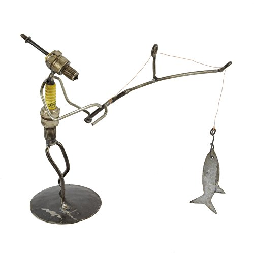 (Swahili Imports Recycled Spark Plug Fisherman Metal Sculpture)
