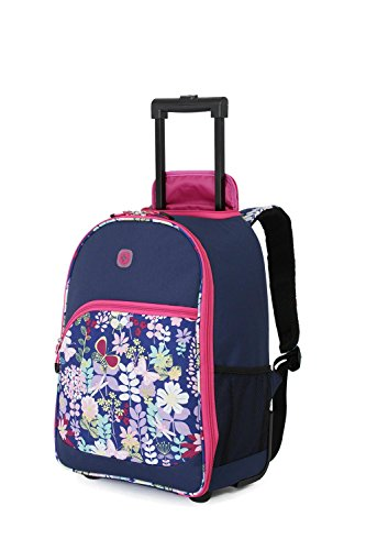 SwissGear Girl's Pink Floral Rolling Backpack Blue/ Pink Floral (Swiss Gear Backpack Girl)