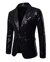 Men's Sequin One Button Coat