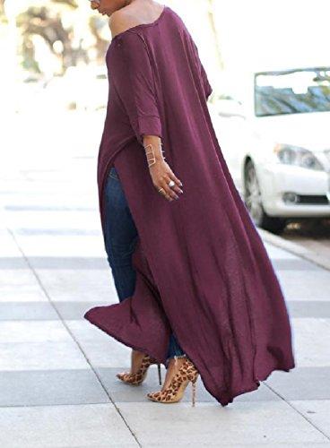 Coolred-femmes À Manches Longues De Couleur Unie Supérieure Robe Longueur De La Cheville Fendue Violet