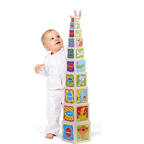 Joqutoys Wooden Stacking Cubes Nesting Boxes with Number and Letter Blocks Educational Toy for Kids Ages 3 and up