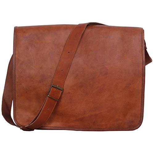 Komal's Passion Leather Vintage Mens 16 Inch Leather Laptop Messenger Pro Satchel Men's Bag (Messenger Leather 16 Bag)