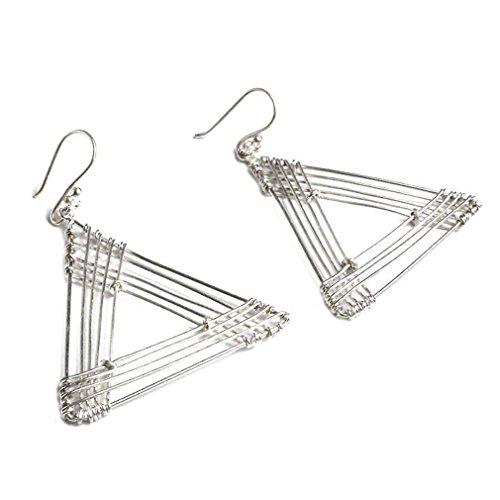 NOVICA .950 Sterling Silver Dangle Earrings, Triangle Quintet'