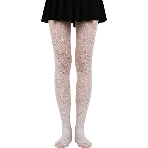 Satinior Hollow Out Legging Knitted Patterned Tights Convertible Transition Tights for Women and Girls (White)