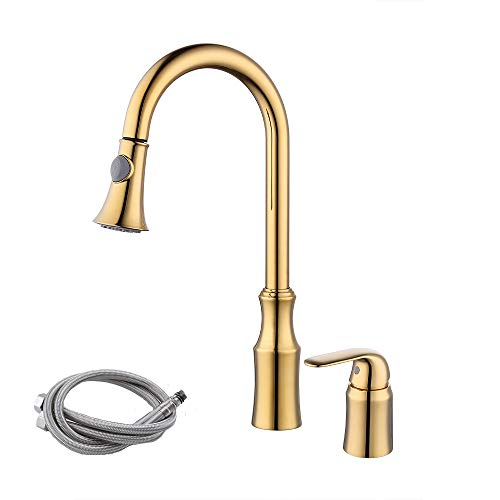 KES BRASS Pull Down Kitchen Faucet Gold Single Handle 2 Hole Modern Commercial Pullout Sink Faucet Swivel High Arc Gooseneck Pulldown Sprayer Head Polished Golden, L6980LF-4