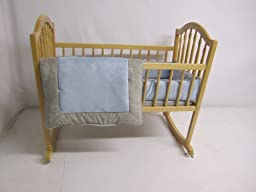 Baby Doll Bedding Zuma Cradle Bedding Set, Grey/Blue