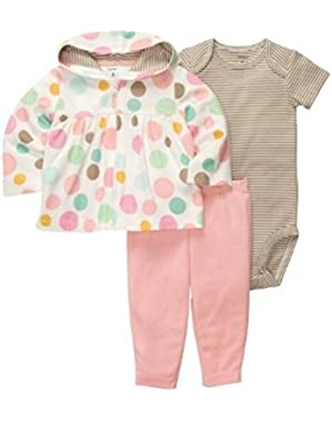 Carters Infant Girls 3 Piece Polka Dot Hoodie Stretch Pants Striped Shirt