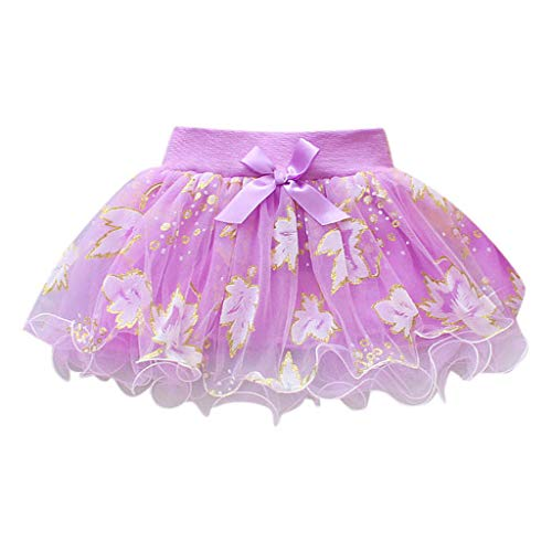 Summer Toddler Baby Girls Tutu Tulle Skirts Puffy Bowknot Floral Pettiskirt Party Ballet Dance Christening Birthday Gown (Purple, 12-18 M)