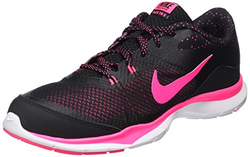 Nike Womens Flex Trainer 5 Print Running Trainers 749184 Sneakers Shoes (US 6, Black Hyper Pink White 018)