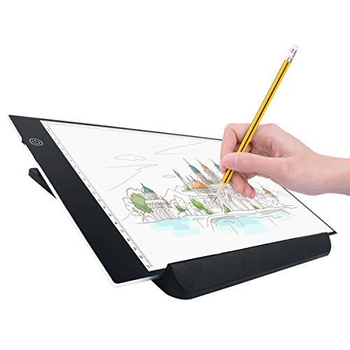 トレース台 UKON A4サイズ ライトボックス LEDタッチセンサ式 3段階調光 ライトテーブル 超薄型 マンガ ライトボックス USBケーブル付き 設計 やアニメに応用します(ブラケット付き)