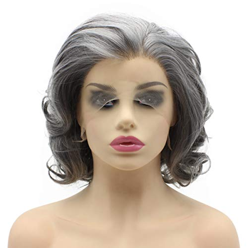 Aurssa Short Curly Old Lady Gray Half Hand Tied Heat Resistant Synthetic Lace Front Natural -