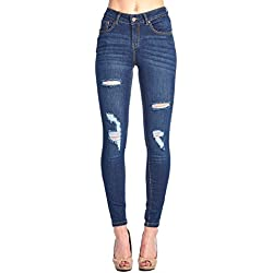 Blue Age Womens Destroyed Stretch Skinny Jeans(JP1054_DK_7)