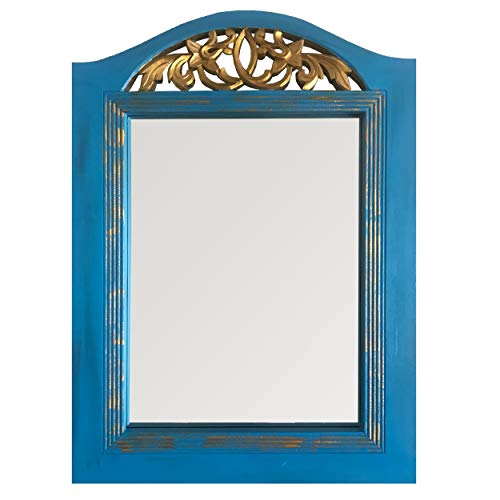 DecorShore French Style Blue Patina Large Vanity Mirror | Hand Carved Wooden -