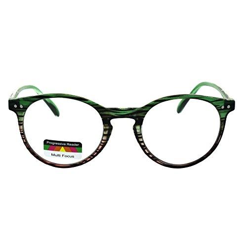Round Keyhole Thin Plastic Horn Rim Tri-focal Progressive Reader Eyeglasses Green Pink Stripe 2.5