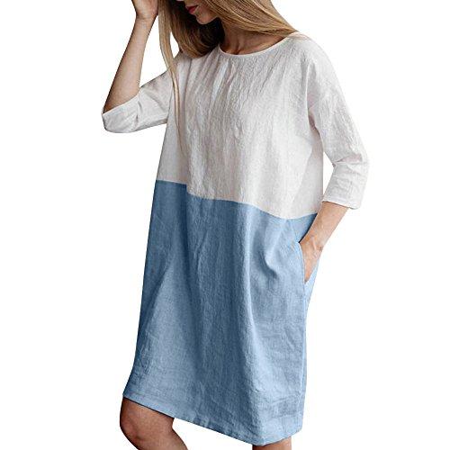 (Women Patchwork Tee Dress, Casual Half Sleeved O-Neck Cotton Linen Loose Pockets Summer Tunic Skirt (M, Blue))
