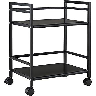 Altra Marshall 2 Shelf Metal Rolling Utility Cart, Black