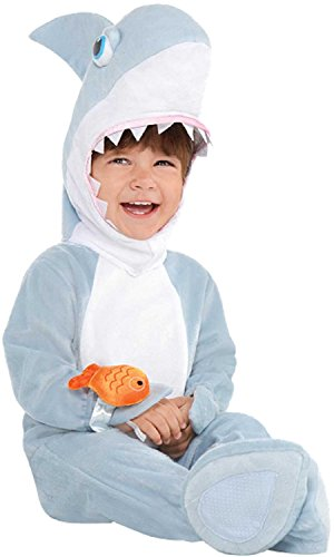 Baby Boys Girls Grey Shark Attack Animal Carnival Halloween Under The Sea TV Book Film Fancy Dress Costume with Rattle 6-24 Months (6 (Fancy Dress Tv And Film Costumes)