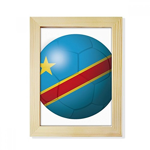 DIYthinker Congo National Flag Soccer Football Desktop Wooden Photo Frame Picture Art Painting 6x8 inch by DIYthinker