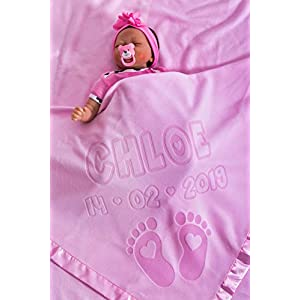 Personalised Baby Blanket for Cot or Pram with Name and Feet Design, Size 88x88CM, Satin Trim