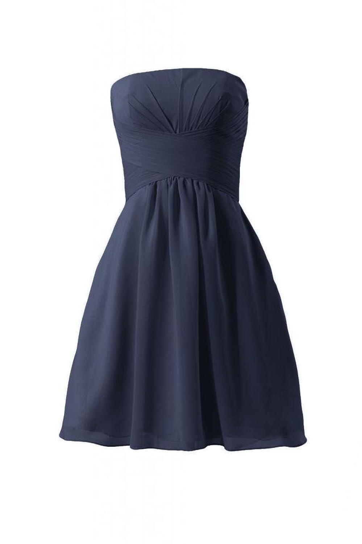 DaisyFormals Short Chiffon Bridesmaid Dress Strapless Party Dress(BM718)