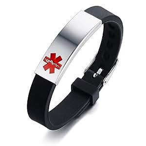 e875f8f8827e Flongo Pulsera de Identificación Médica Cruz