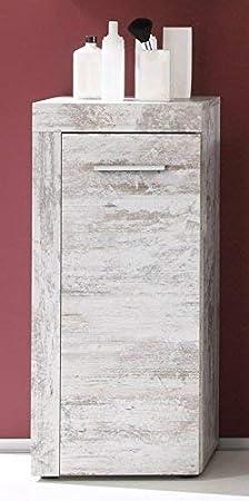 Maisonnerie 1259-802-03 Miami Meuble de Salle de Bain pour Dessous d/évier Blanc M/élamin/é//Argent Cendr/é 36,0 x 31,0 x 81,0 cm