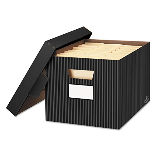 - Bankers Box 0029803 STOR/File Decorative Storage Box, Letter/Legal, Black/Gray, 4/Carton