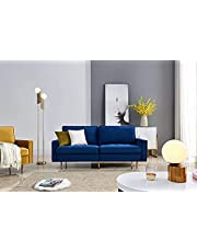 Velvet Fabric Sofa Couch Navy Blue, 71 inch Wide Living Room Couch with 2 Throw Pillows 700lb Heavy Duty
