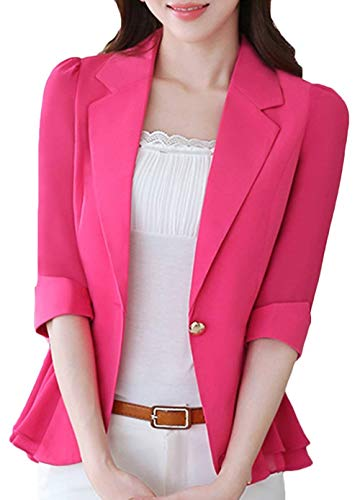 4 Slim Chiffon Monocromo Outwear Donna Fit Confortevole Cappotto Ovest Battercake Casuale Suit Manica Cucitura Rose Leisure Donne Button Bavero Rot Primaverile 3 gbf7y6