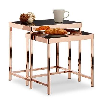 Relaxdays Table D Appoint Copper Plateau En Verre Noir Lot