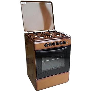 cucina con forno a gas 4 fuochi 50x50 marrone grill elettrico piezo valvolata