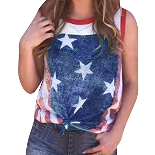 TWinmar -Women Fashionable Star Printed Vest T-Shirt Loose Independence Day O-Neck Blouse Girls Slim Knot Festival Tank Tops (Blue,S)