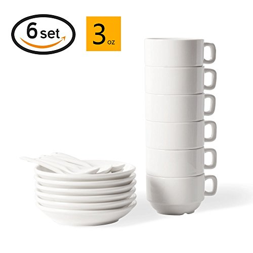 18-Piece Espresso Cups with Saucers and Spoons, 3oz Demitasse Cups, Fine White Porcelain, Stackable Espresso Coffee Sets- for Specialty Coffee Drinks, Latte, Cafe Mocha and Tea-Set of 6