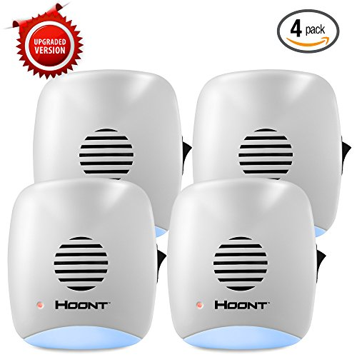 Hoont Indoor Plug-in Ultrasonic Pest Repeller with Night Light - Pack of 4 - Eliminate All Rodents and Insects [UPGRADED VERSION] (Natural Rat Repellent)