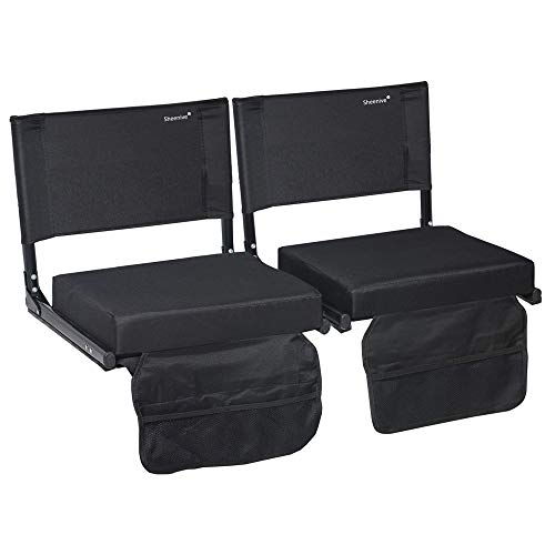 Sheenive Stadium Seats for Bleacher - Wide Padded Cushion Stadium Seats Chairs for Outdoor Bleachers with Leaning Back Support and Shoulder Strap, Perfect for NFL and Baseball Games, 2 Pack, - Padded Seat