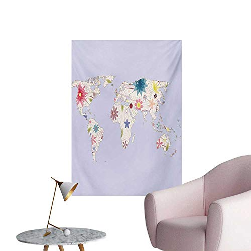 Anzhutwelve Floral World Map Wallpaper Retro Style Map with Pastel Toned Blossoms Kids Girls Atlas IllustrationCream Lilac W32 xL36 Wall Poster ()