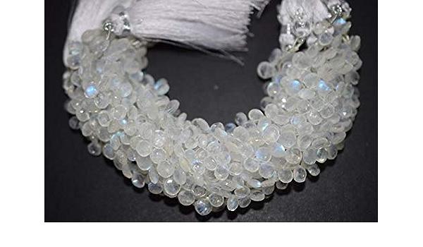 Good Quality White Rainbow Moonstone Heart Faceted Briolette Rainbow Moonstone Faceted Briolette 6x6-8x8 mm BL276
