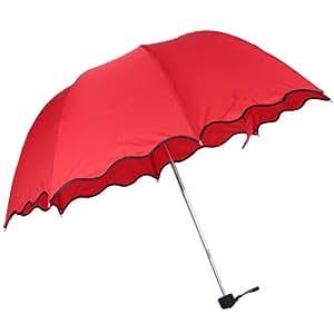 Wuiyepo Fashion Lady Flouncing Dome Parasol Sun/Rain Girls Lotus Leaves Wave Folding Umbrella (Red)
