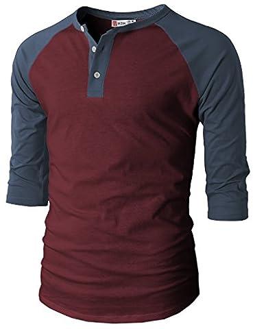 H2H Mens Casual Slim Fit Raglan 3/4 Sleeve Henley T-Shirts WINENAVY US L/Asia XL (CMTTS0174) - Short Raglan Sleeve