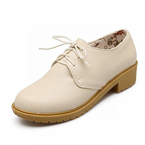 Spectacle Briller Womes Mode Faible Chunky Talon Oxfords Chaussures Beige