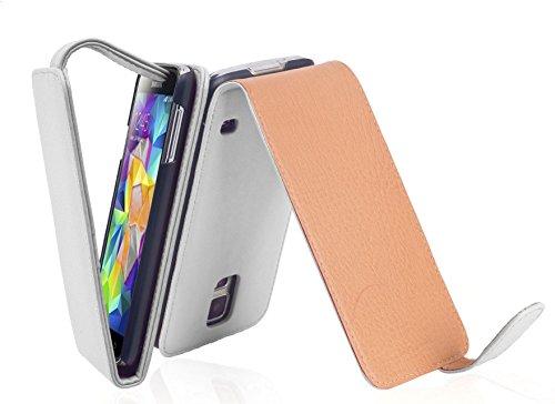 Cadorabo - Funda Flip Style para Samsung Galaxy S5 (GT-I5500) de Cuero Sintético Liso - Etui Case Cover Carcasa Caja Protección en ORQUÍDEA-VIOLETA BLANCO-POLAR
