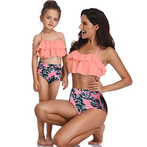 Womens Girls Ruffles Strap High-Waisted Bikinis Bottom Cute Flounced Top Two Piece Swimsuit Bathing Suit for Daughter and Mom (Tie That Straps)