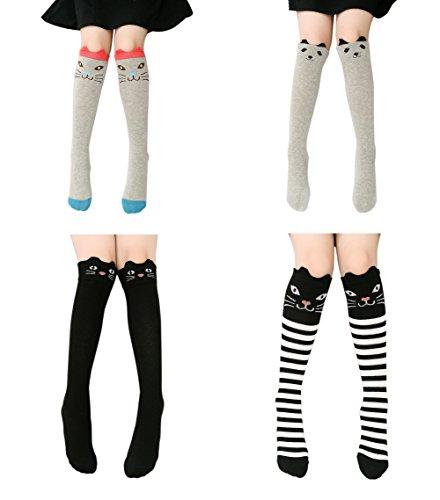 Color City Children Girl Cartoon Animal Fox Cat Bear Cotton Over Calf Knee High Socks (Assorted 4 (Knee Socks Girls)