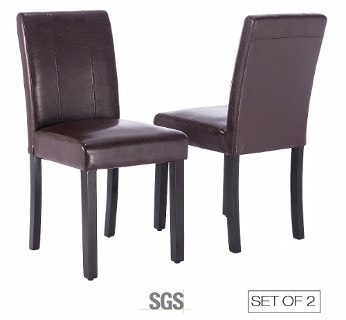 ZXBSWELE Set of 2 Parson Chair with Solid Wood Leg for Dining Room, Living Room, Kitchen, Leatherette, Chocolate Brown