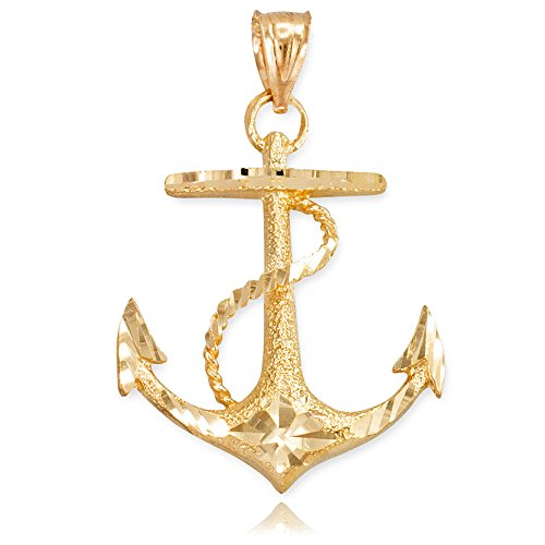 American Heroes Textured 10k Yellow Gold Fouled Anchor Necklace Pendant
