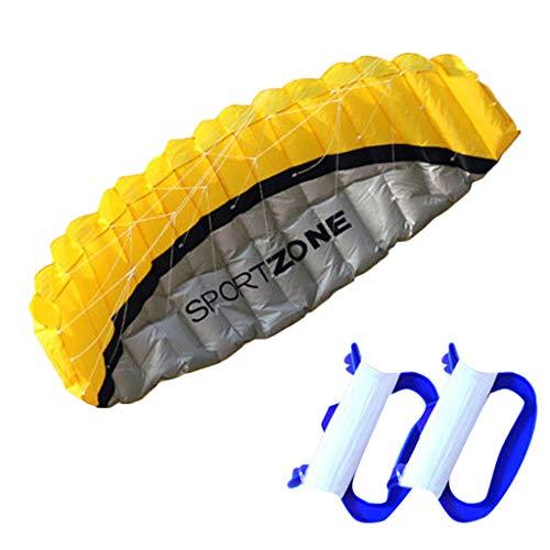 Ikevan 2019 Kite NEW 2.5m Dual Line Parachute Stunt Sport Beach Outdoor Toys BLUE Large Kite (Yellow) ()